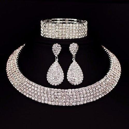Classic Rhinestone Crystal Choker Wedding Jewelry Set