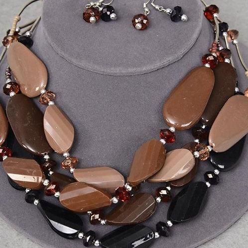 Acrylic Silver Beads w/ Fancy Blocks Necklace & Earrings Set