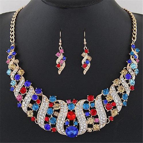 Rhinestone Crystal Statement Necklace & Dangle Drop Earrings Jewelry Set