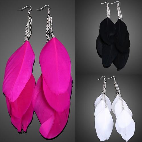 Feather Drop Dangle Earrings