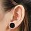 Thumbnail: Black Stainless Steel Barbell Earrings