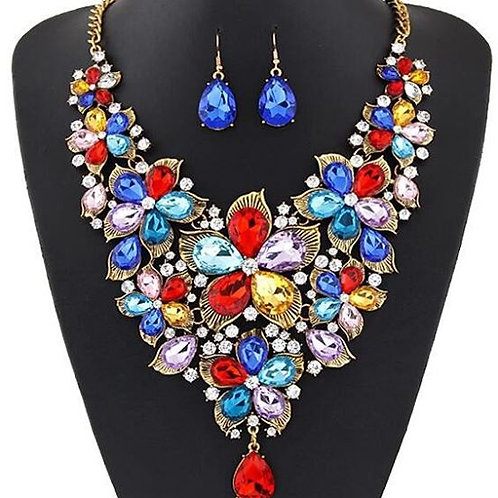 Maxi Big Flower Necklace and Earring Set