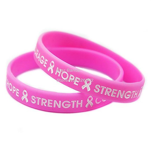 Hope, Strength, Courage Silicone Wristband