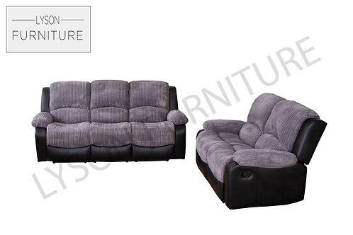 3+2 Recliner Sofa Set - Jumbo Cord Grey