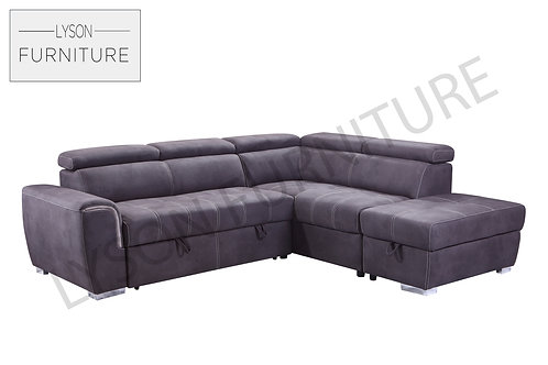 NAOMI Corner Sofa Bed - Full Back - Faux Leather