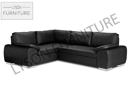 EVAN Corner Sofa Bed - Full Back - Faux Leather