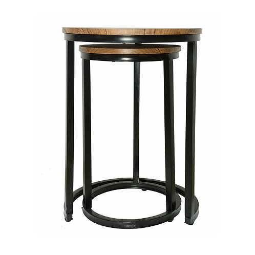 Java Nest Tables Black Frame-Distressed Tops