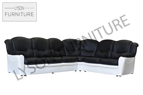 Tomas Corner Sofa Faux Leather Two Tone Colour