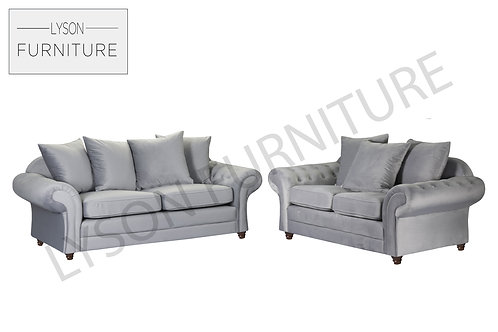 Hawaii 3+2 Sofa Set - Plush Velvet Light or Dark Grey