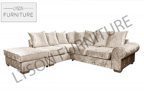 RONALD VELVET Corner Sofa - Scatter Cushion - Fabric