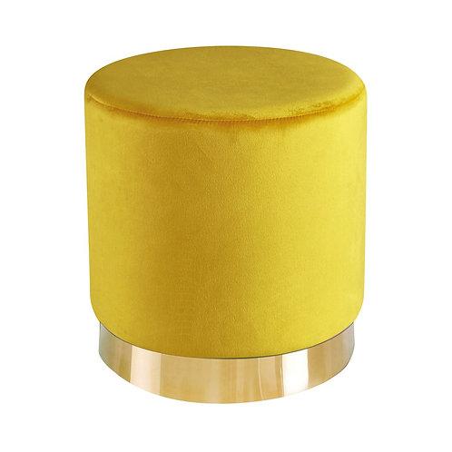 Lara Pouffe - Ochre Yellow Velvet