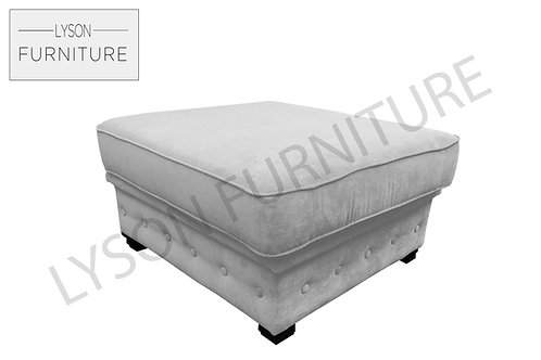 Large Buttoned Footstool - Fabric