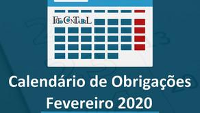Calendário de Obrigações Fevereiro 2020