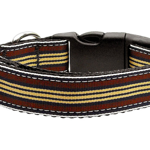 Preppy Stripes Nylon Ribbon Collars Brown/Khaki Large