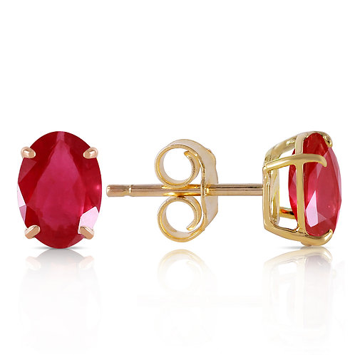 1.8 Carat 14K Solid Yellow Gold Stud Earrings Natural Ruby