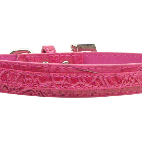 "3/8"" (10mm) Faux Croc Two Tier Collars Pink Small"