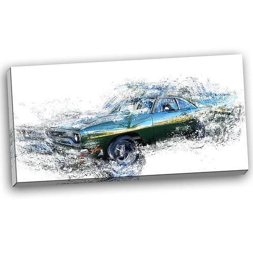 Blue and Green Muscle Car Graphic Art on Wrapped Canvas