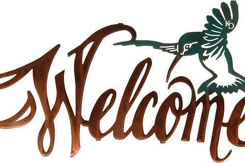 Hummingbird Welcome By Kathryn Darling - Wildlife Metal Wall Art Sign