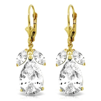 13 Carat 14K Solid Yellow Gold Leverback Earrings Natural White Topaz