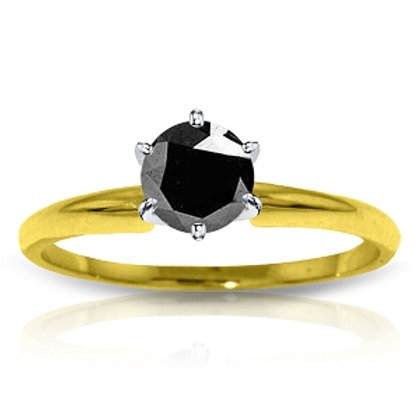 14K Solid Yellow Gold Solitaire Ring 0.50 Carat Black Diamond