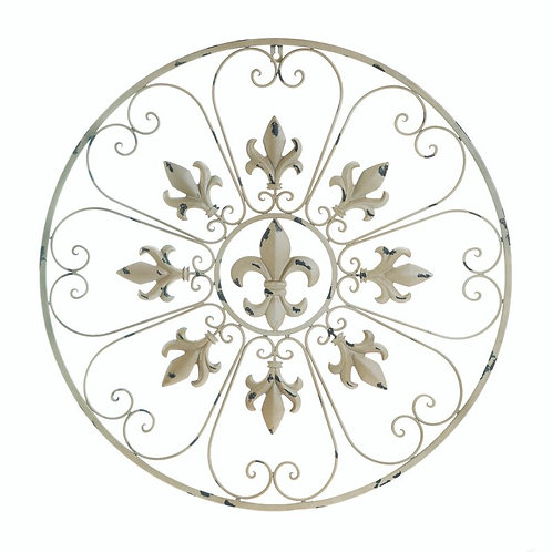 Fleur De Lis Circle Metal Wall Décor