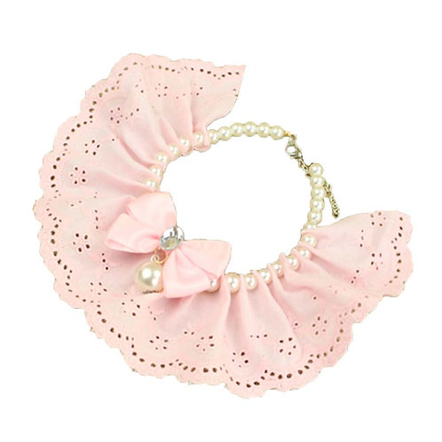 Pet Necklace Pet Cat And Dog Bell Bow Tie Accessories [Pearl Style-6]