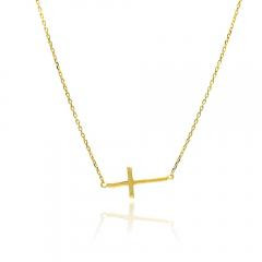 925 sterling silver gold plated sideways cross pendant necklace 18 925 sterling silver gold plated sideways crosspendant necklace this beautiful sterling silver yellow gold plated sideways cross necklace mozeypictures Images