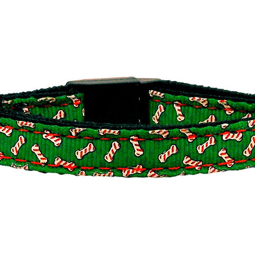 Miragepetproducts Candy Cane Bones Nylon and Ribbon Collars Cat Safety