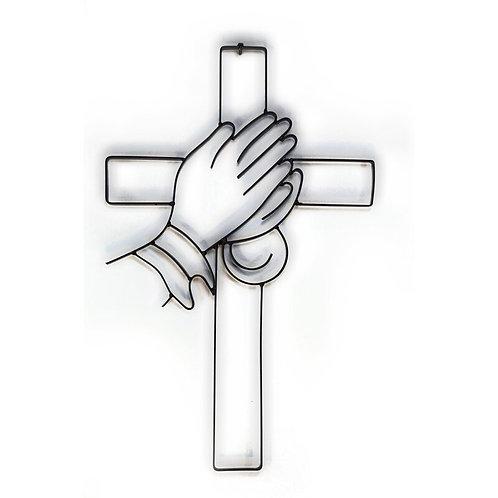 Praying Hands Cross Metal Wall Décor