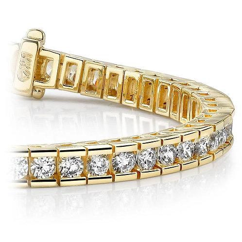 Round Channel Diamond Tennis Bracelet In Yellow Gold (3 1/2 Ctw)