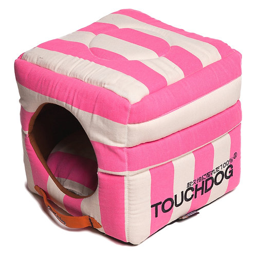 Polo-Striped Convertible and Reversible Squared 2-in-1 Collapsible Dog House Bed
