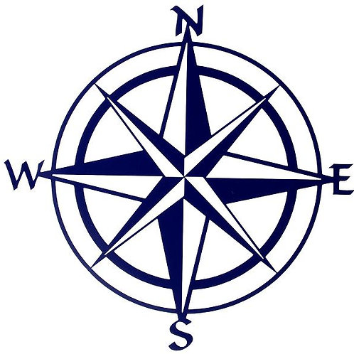 Nautical 3D Relief Metal Wall Art - Blue Compass Rose By K. Fletcher