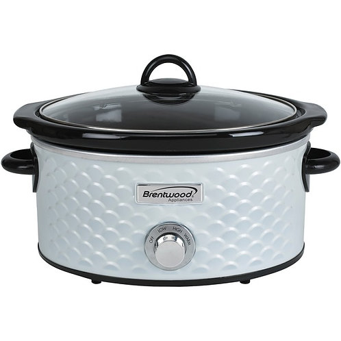 Brentwood Appliances 4.5-Quart Scallop Pattern Slow Cooker (White)