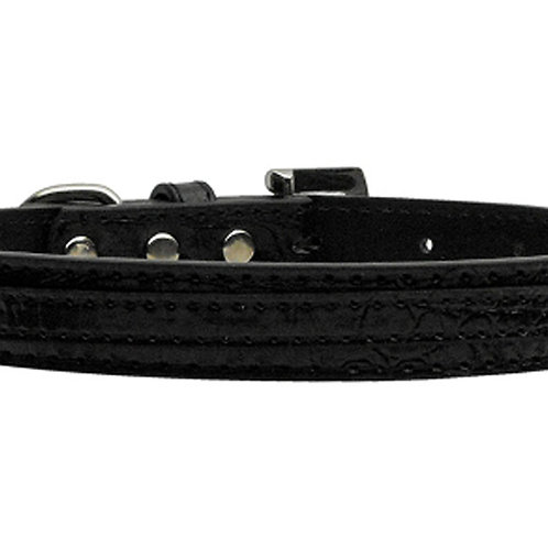 """3/8"""" (10mm) Faux Croc Two Tier Collars Black Small"""