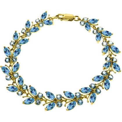 16.5 Carat 14K Solid Yellow Gold Butterfly Bracelet Blue Topaz