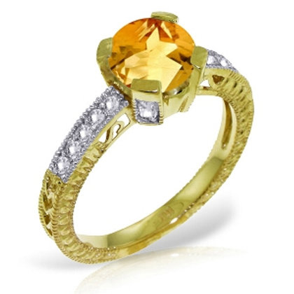 1.8 Carat 14K Solid Yellow Gold Having A Moment Citrine