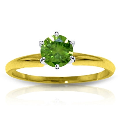 0.5 Carat 14K Solid Yellow Gold Solitaire Ring 0.50 Carat Natural Green Diamond