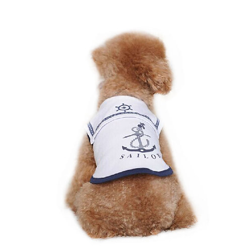 Dog Apparel Pet Clothing White Navy Costume Dog Clothes, Bust 30cm, XS