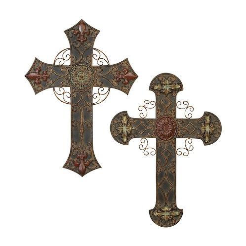 2 Piece Iron Ornate Wall Crosses Wall Decor Set (Set of 2)