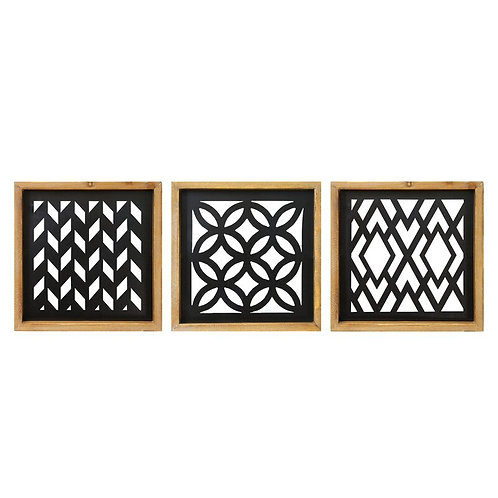 3 Piece Wood and Metal Laser Cut Wall Décor Set