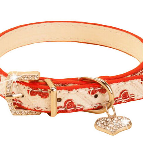 Rhinestone Pet Collars - Dog Leashes - Pet Supplies -- Red Plum