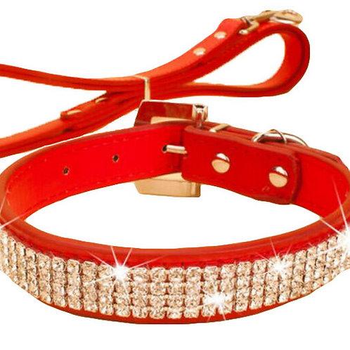 Rhinestone Pet Collars - Dog Leashes - Pet Supplies -- Red Rhinestone 1