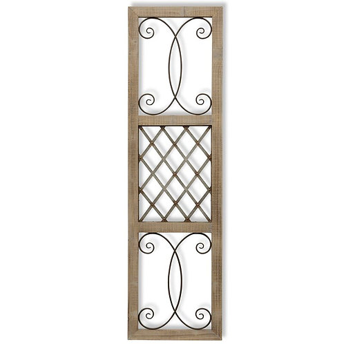Scroll Metal and Wood Wall Décor