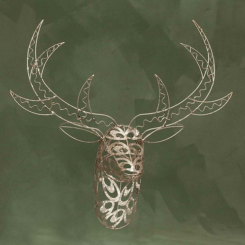 Metal Scroll Deer Head Wall Décor