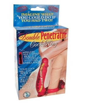 Double Penetrator Cockring Red