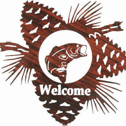 Bass Welcome - Nature Metal Wall Art Sign