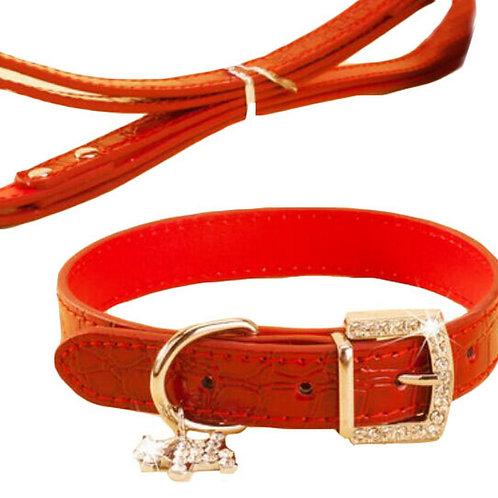 Rhinestone Pet Collars - Dog Leashes - Pet Supplies -- Red Marbling 1