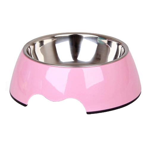 Separable Stainless Steel Puppy Feeders Pet Bowl Feeding Tray Dog Bowl, Pink