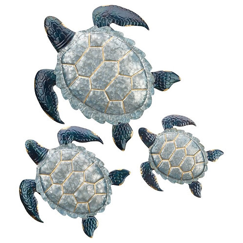 3 Piece Galvanized Sea Turtle Wall Décor Set