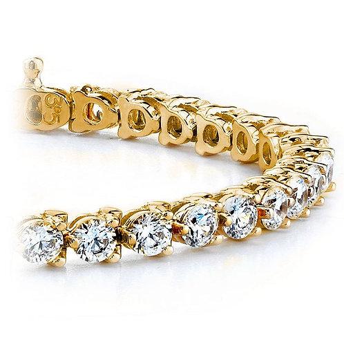 Three Prong Diamond Tennis Bracelet In Yellow Gold